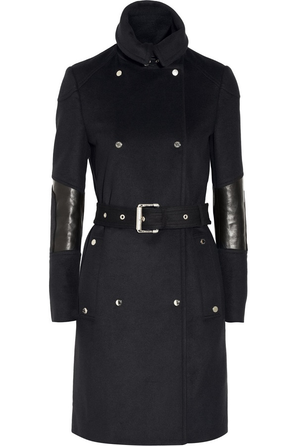 BELSTAFF    hadlow leather trimmed wool and cashmere blend trench coat
