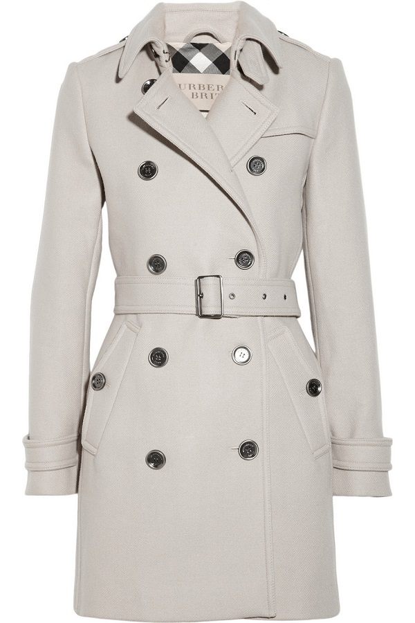 BURBERRY  BRIT   mid length wool blend trench coat