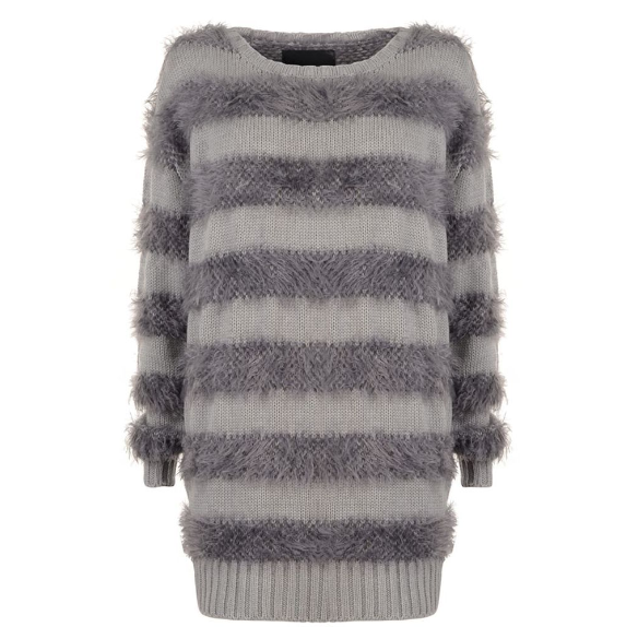 GESTUZ   fluffy stripe jumper currently 52% off