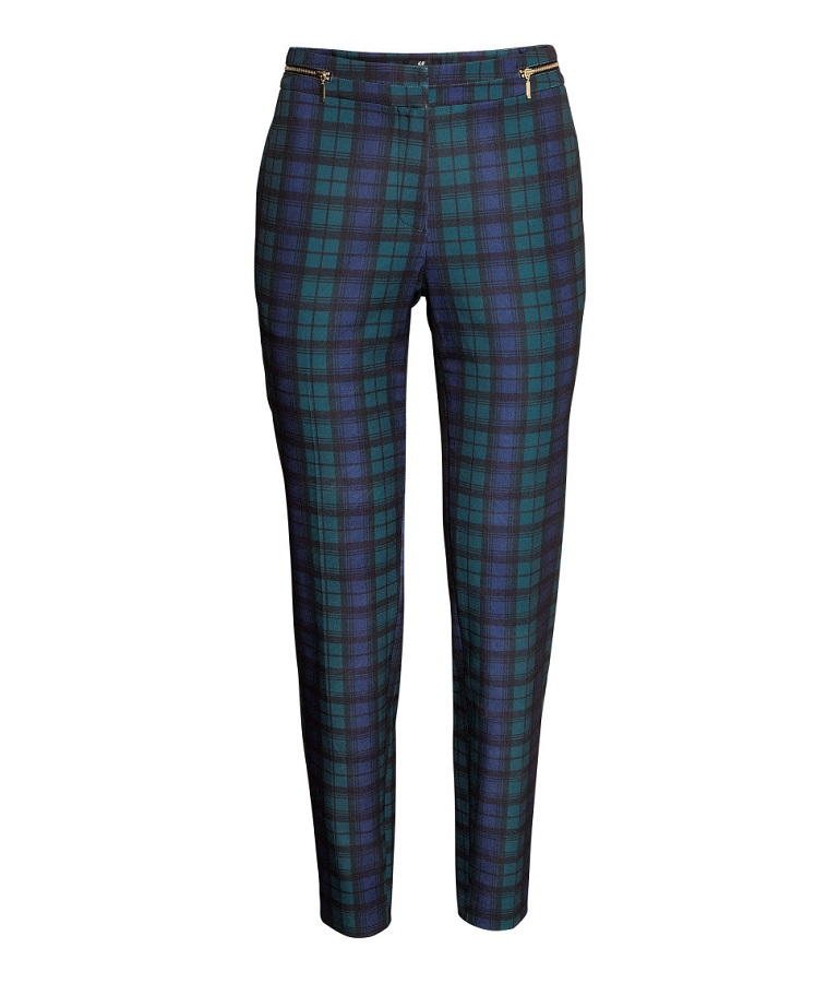H&M   blue checked tapered trousers