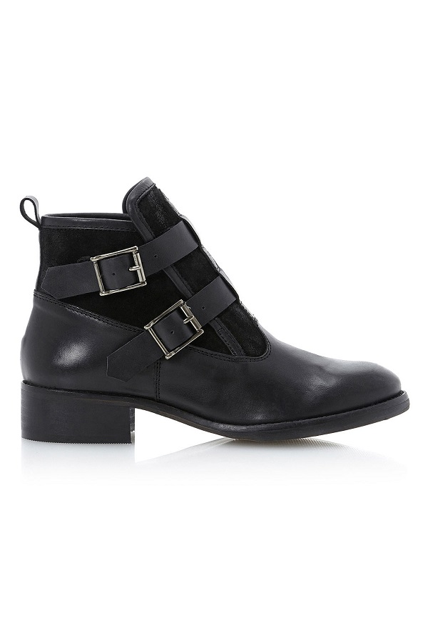 TOPSHOP    double buckle embossed ankle boots