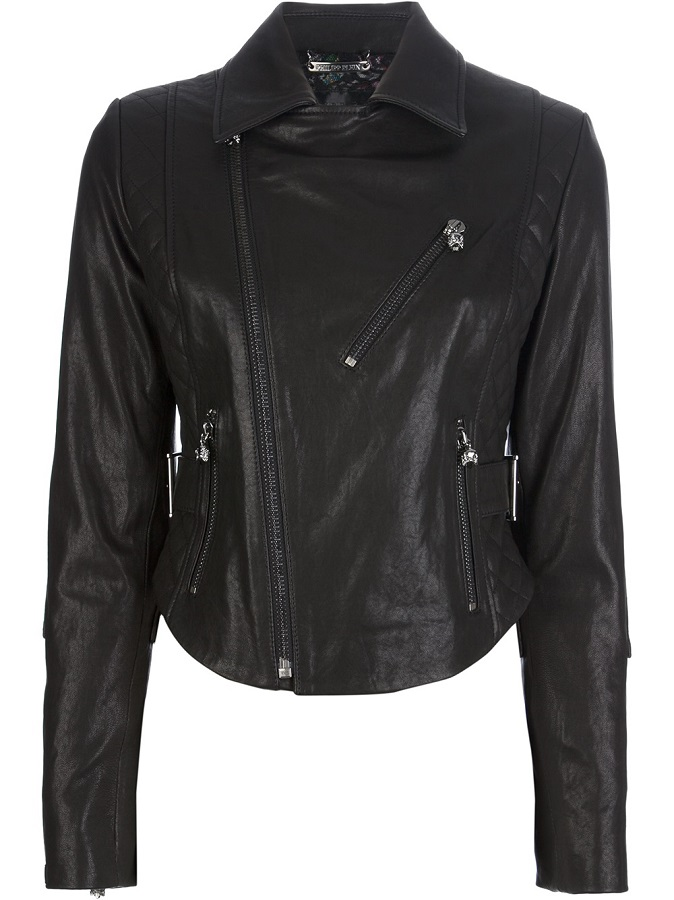 Black hell rider leather jacket