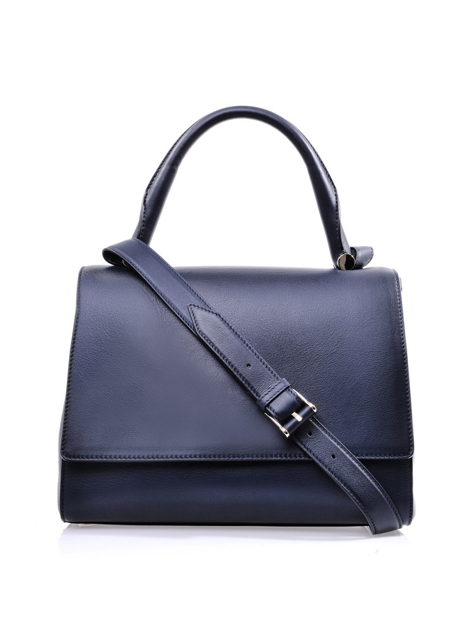 Leather navy ottelia tote bag
