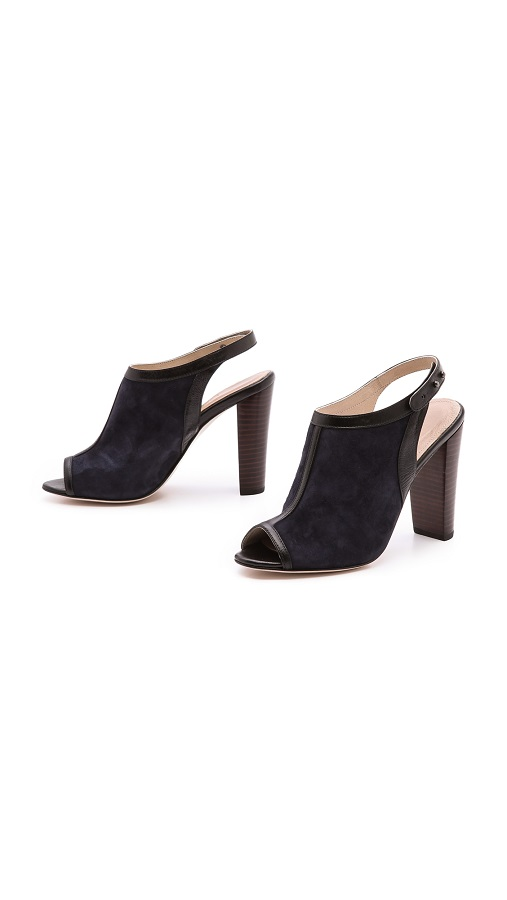 Navy sling back open toe mules