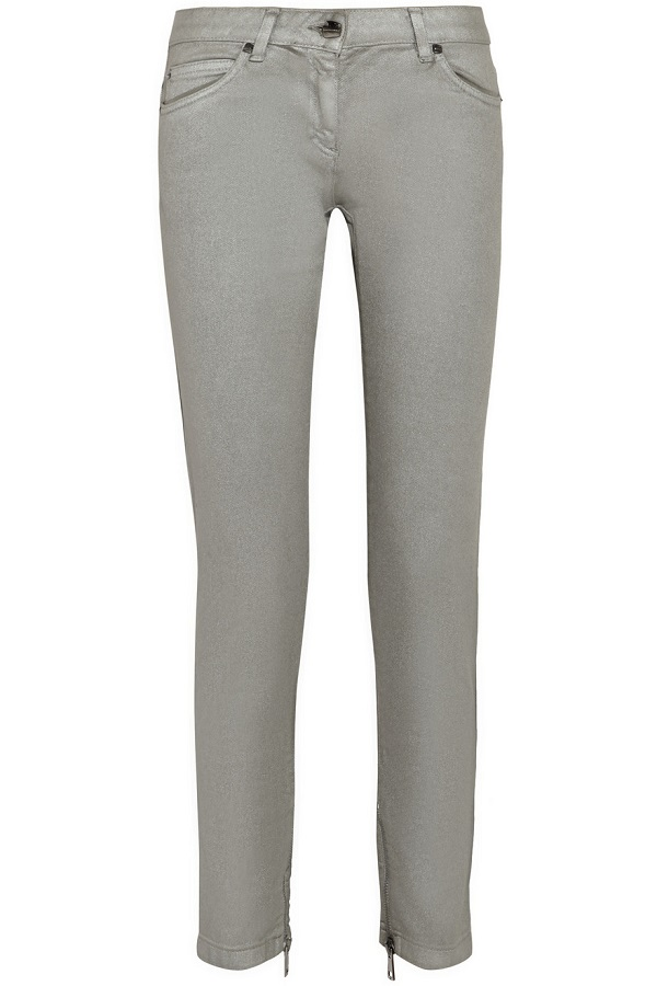 Metallic Coated Straight Leg Jeans