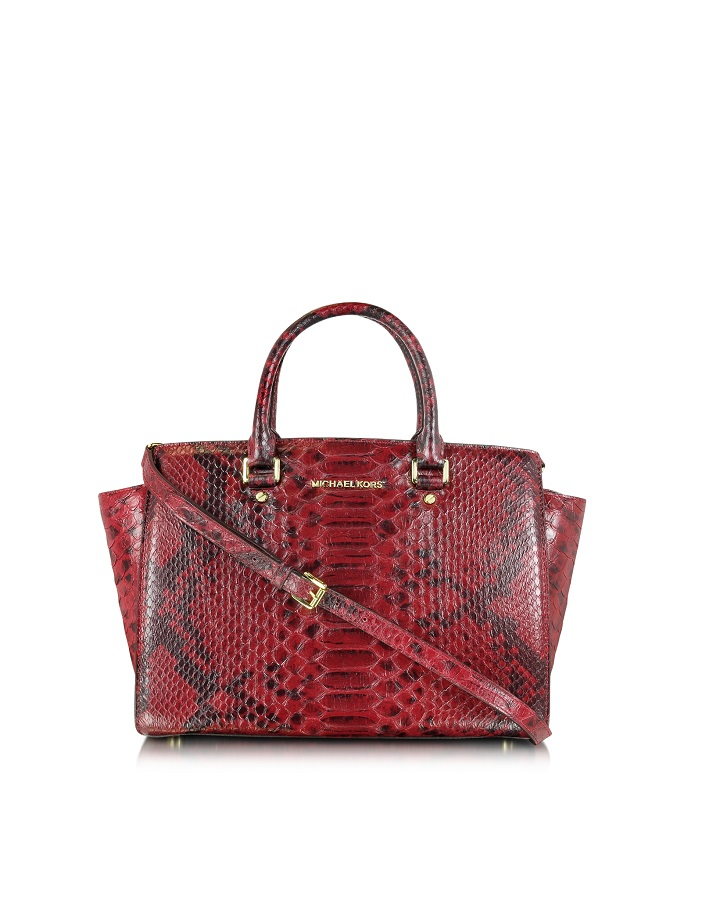 Red Selma Large Zip Satchel