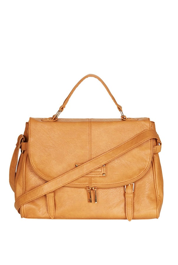 Tan Large Zip Satchel