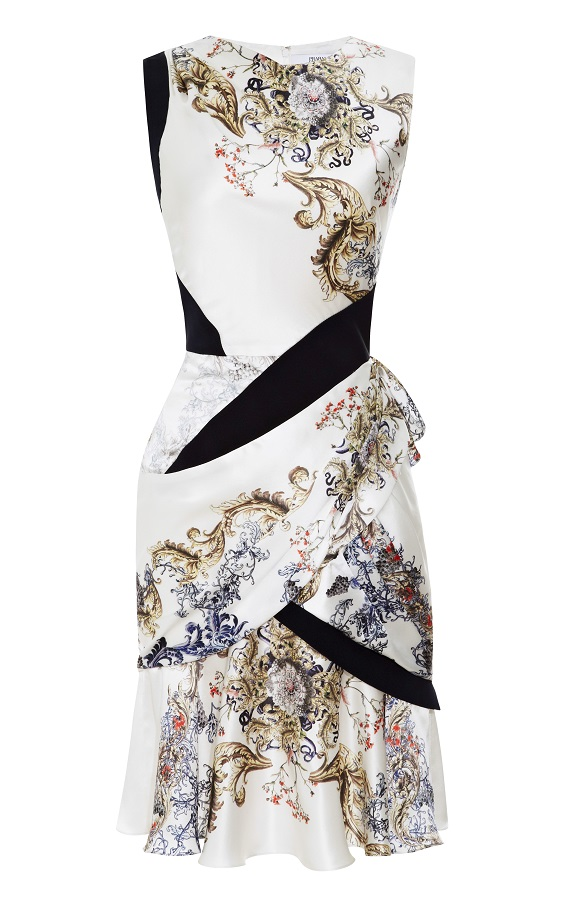 Printed Silk Satin Draped Dress