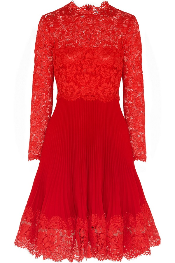 Red Lace & Plissé Silkcrepe Dress