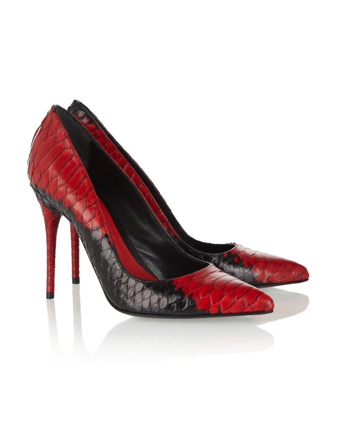 Red Two Tone Python Pumps