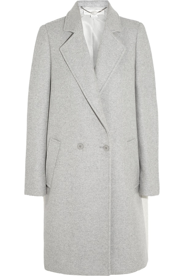 Grey Double Breasted Wool Blend Coat