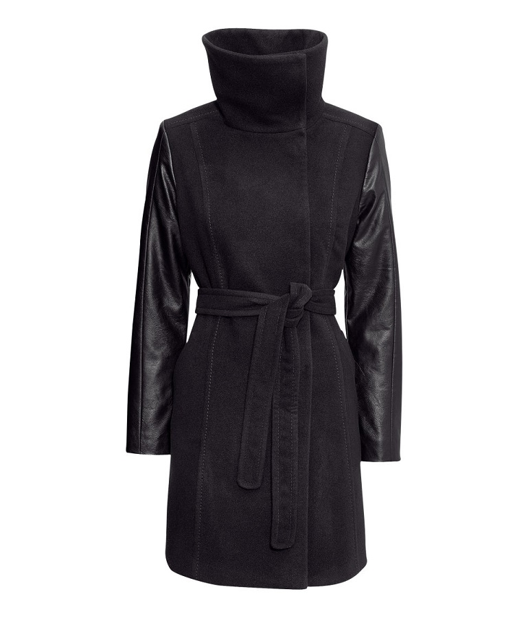 Black Short Funnel Collar Coat