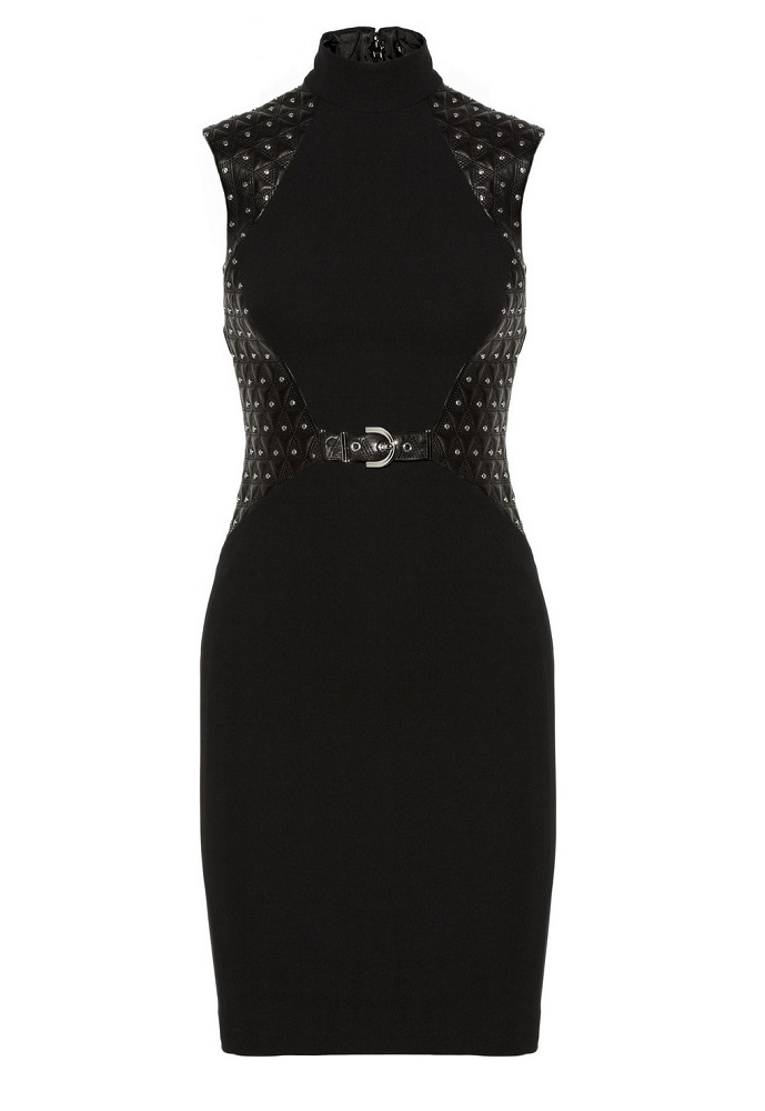 Studded Leather Paneled Stretch Crepe Dress