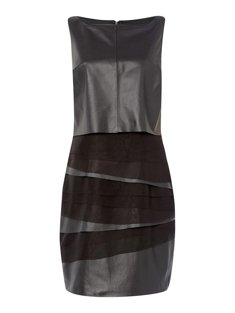 Leather And Chiffon Layered Dress