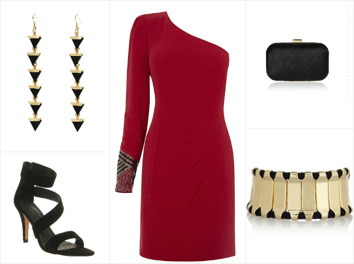 Style For Less: Warehouse Red One Shoulder Dress