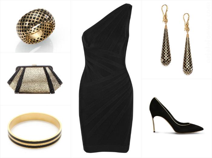 A Way to Wear Hervé Léger Asymmetric One Shoulder Bandage Dress