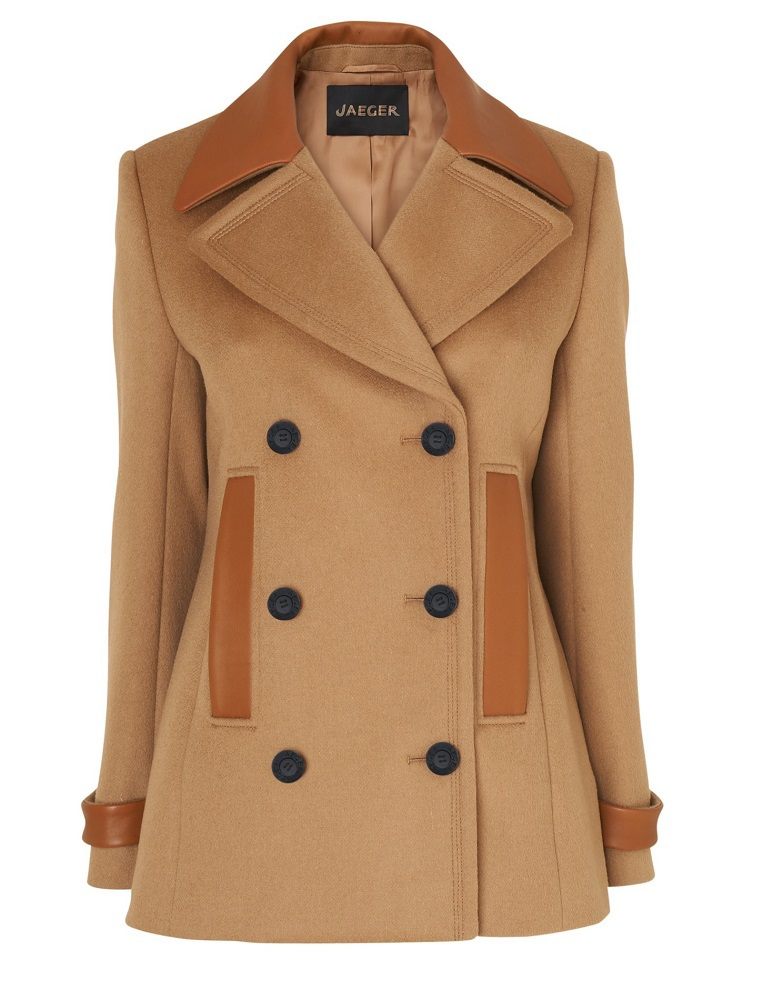 JAEGER camel leather trim pea coat