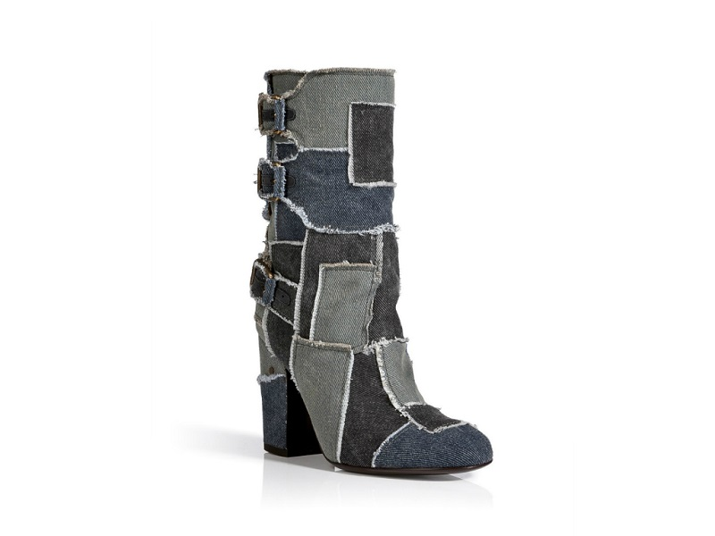 Laurence Dacade Patchworked Denim Midi Boots