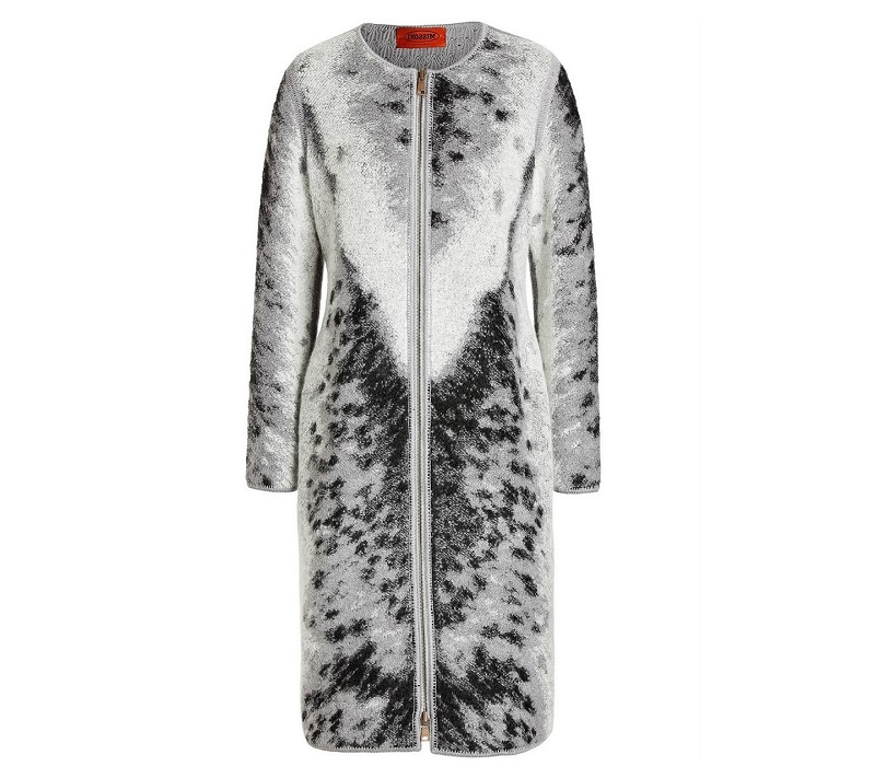 MISSONI Mohair Wool Blend Intarsia Knit Coat