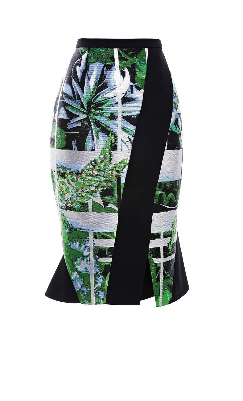 Jane Ikebana Printed Flounce Hem Jacquard Skirt