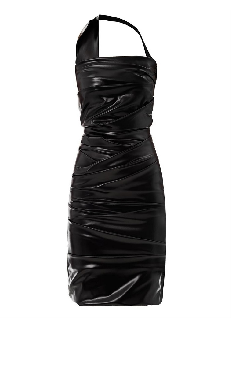 Wet Ripple Halterneck Dress