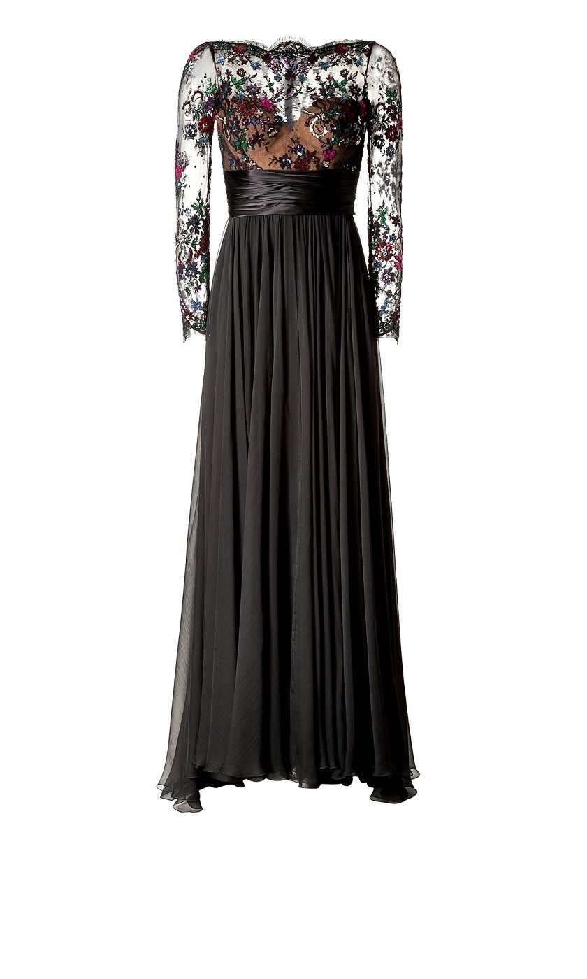 Embellished Lace Bodice Evening Gown