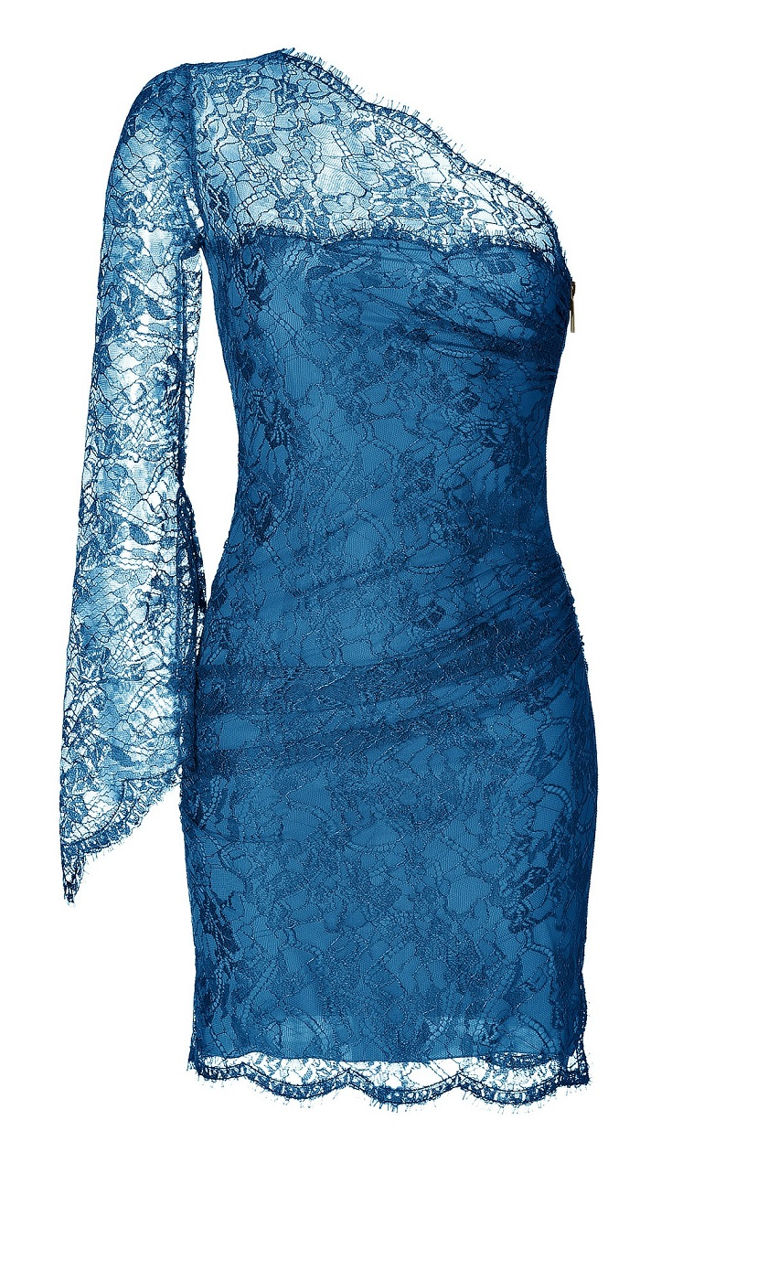One Shoulder Lace Overlay Dress in Ocean
