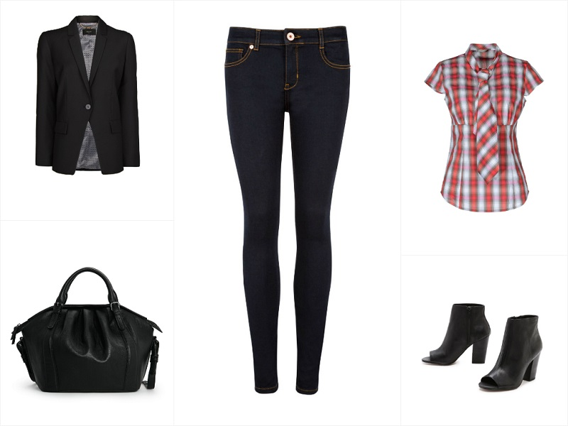 TED BAKER skinny jeans / MANGO blazer / PINKO blouse / MANGO tote / STEVE MADDEN booties