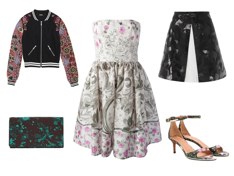 RED VALENTINO dress / REBECCA MINKOFF jacket / P.A.R.O.S.H. clutch / PETER PILOTTO skirt / GIVENCHY sandals