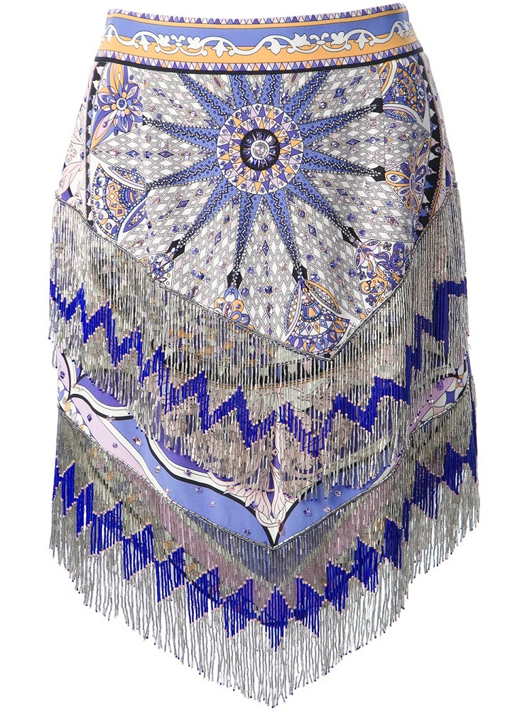 Emilio Pucci Beaded Fringed Skirt