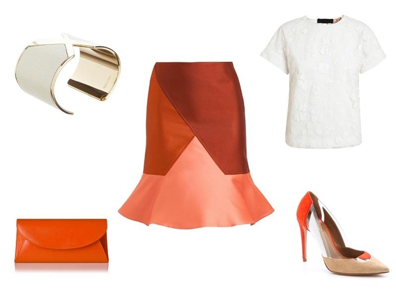 OSTWALD HELGASON skirt / No21 top / AQUAZZURA pumps / LK BENNETT clutch / VALEXTRA cuff
