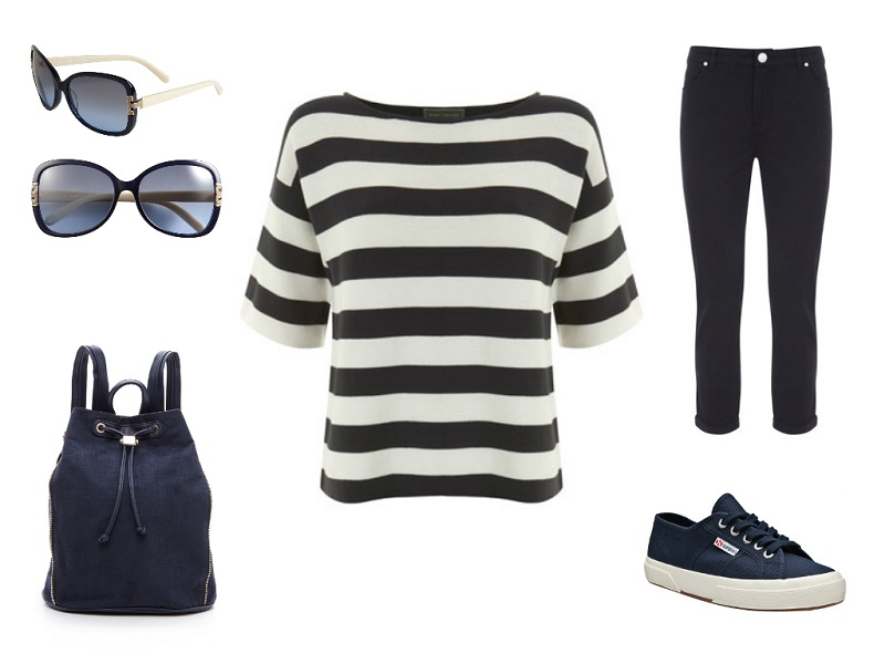 MINT VELVET tee & jeans / DEUX LUX backpack / SUPERGA sneakers / TORY BURCH sunglasses