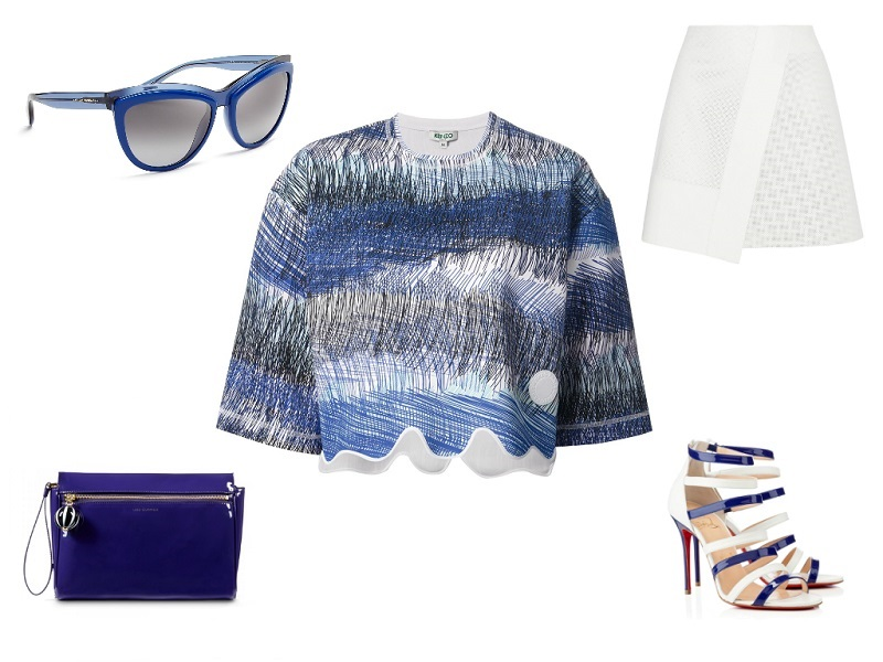 KENZO top / JOSEPH skirt / CHRISTIAN LOUBOUTIN sandals / LULU GUINNESS clutch / ALEXANDER MCQUEEN sunglasses