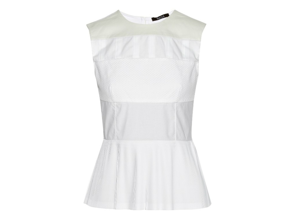 RAOUL cotton blend peplum top currently 55% off