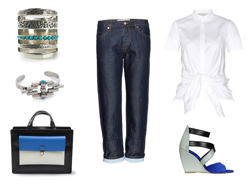 MARNI EDITION jeans / VANESSA BRUNO blouse / MARNI tote / SERAFINI sandal / PAMELA LOVE ring & bracelet