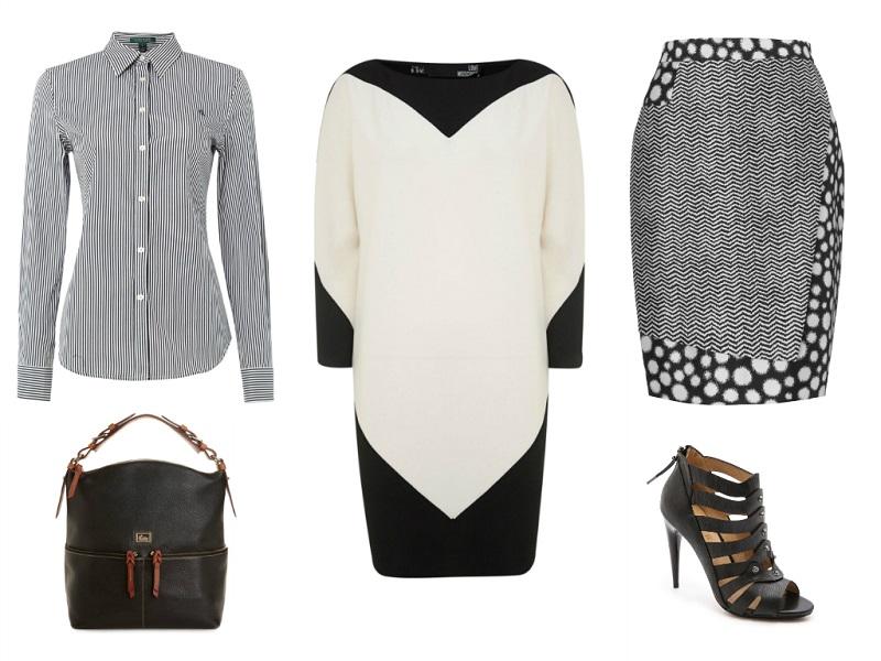 LOVE MOSCHINO dress / LAUREN RALPH LAUREN shirt / WHISTLES skirt / L.A.M.B. booties / DOONEY & BOURKE bag