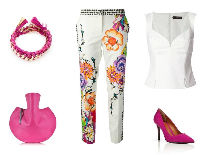 ETRO trousers / DSQUARED2 blouse / MM6 MAISON MARTIN MARGIELA tote / FENDI pumps / AURELIE BIDERMANN bracelet
