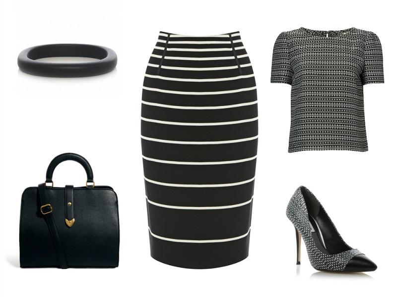 OASIS skirt | JAEGER top | ASOS COLLECTION bag | DUNE pumps | UBU bangle