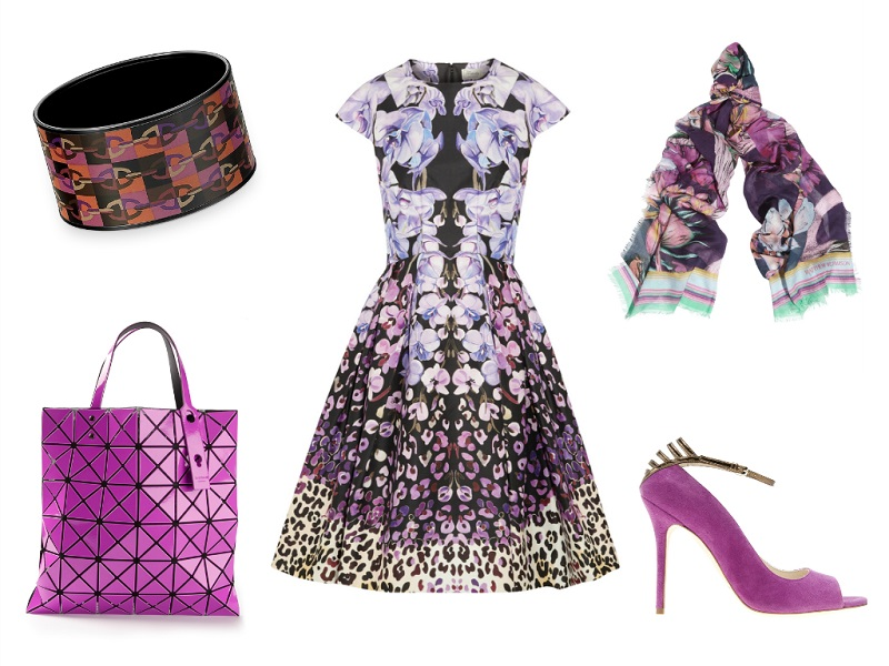 TEMPERLEY LONDON dress | HERMES bracelet | MATTHEW WILLIAMSON scarf | ISSEY MIYAKE tote | BRIAN ATWOOD pumps