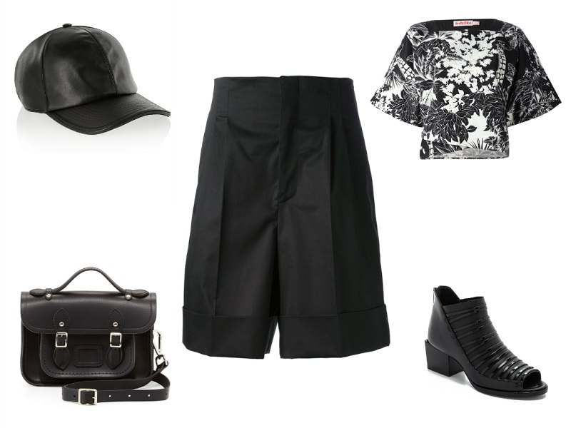 JIL SANDER culottes | SEE BY CHLOÉ top | NEIL BARRETT cap | CAMBRIDGE SATCHEL COMPANY bag | 3.1 PHILLIP LIM booties