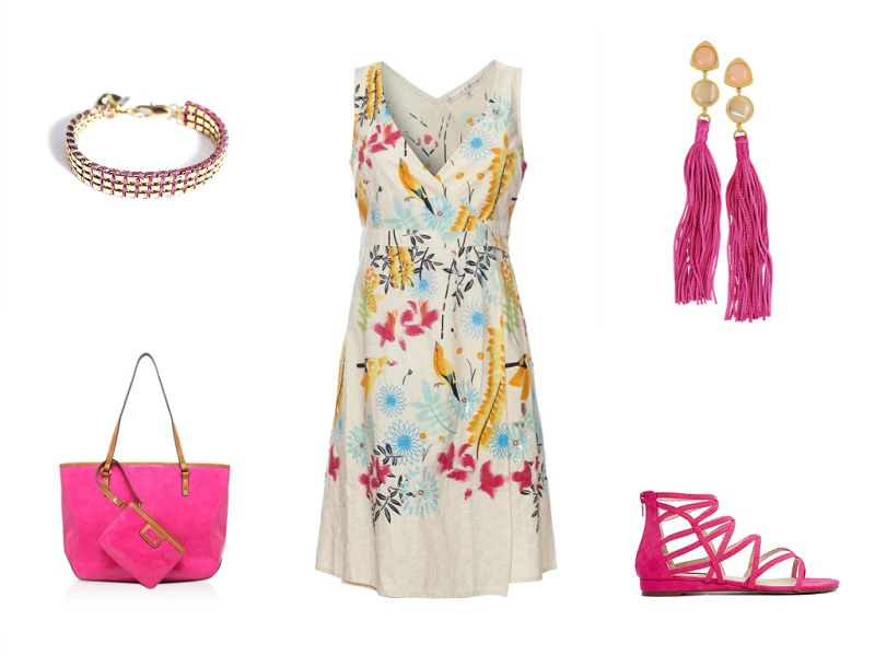 UTTAM BOUTIQUE dress | LIZZIE FORTUNATO bracelet & earrings | LONDON REBEL sandals | NINE WEST tote