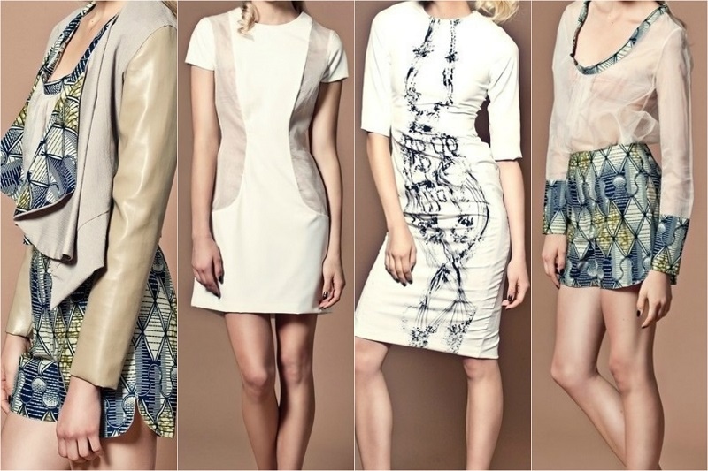 Left to Right: Tina Lobondi - african print jacket | organza paneled dress | fitted midi dress | african print shorts & top