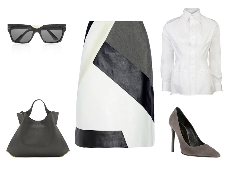 JONATHAN SIMKHAI skirt | JUNYA WATANABE X COMME DES GARCONS blouse | SAINT LAURENT pumps | VINCE CAMUTO tote | ROLAND MOURET sunglasses