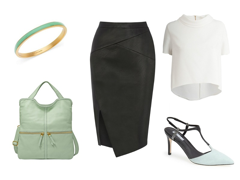 OASIS skirt | CLOSET top | FOSSIL tote | CHARLES DAVID pumps | T TAHARI bracelet