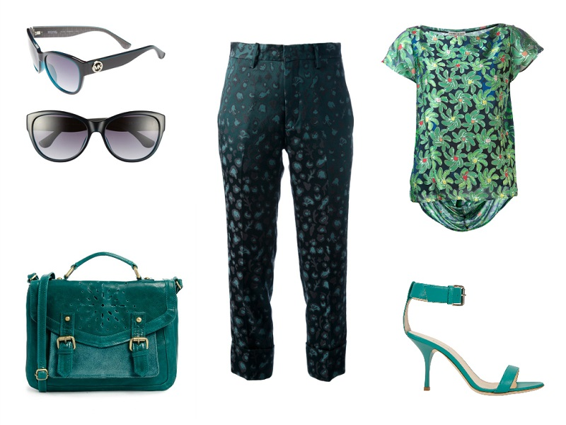 TSUMORI CHISATO trousers & t-shirt | BARNEYS NEW YORK sandals | ASOS satchel | MICHAEL MICHAEL KORS sunglasses
