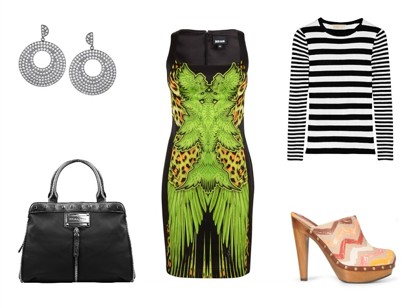 JUST CAVALLI dress | MICHAEL MICHAEL KORS top | MISSONI clogs | VERSACE bag | KENNETH JAY LANE earrings