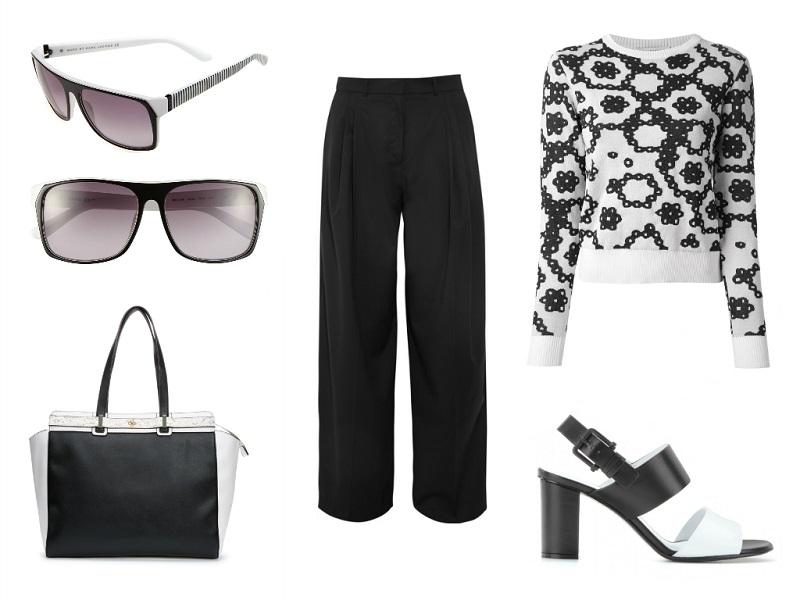 J.W. ANDERSON trouser & sweater | MARC MARC JACOBS sunglasses | ANN TAYLOR tote | JIL SANDER sandals