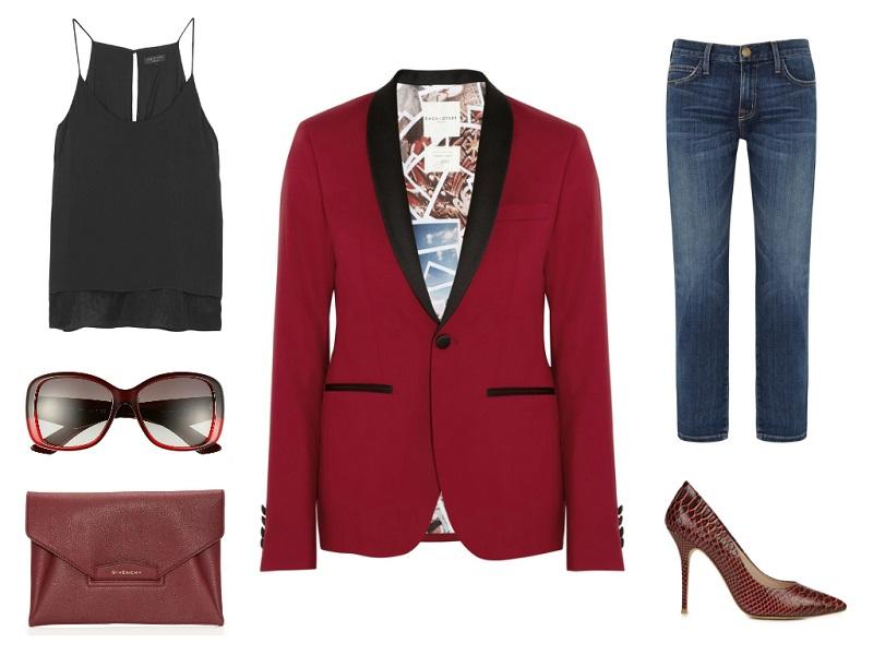 EACH X OTHER tuxedo | RAG & BONE cami | CURRENT/ELLIOTT jeans | PRADA sunglasses | GIVENCHY clutch | LUCY CHOI LONDON pumps