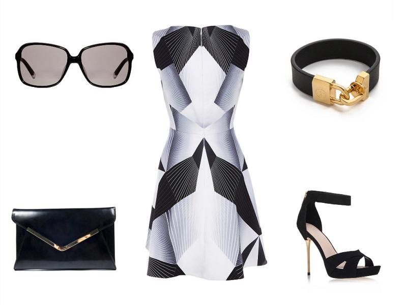 KAREN MILLEN dress | CALVIN KLEIN sunglasses | JONES BOOTMAKER clutch | TORY BURCH bracelet | CARVELA sandals