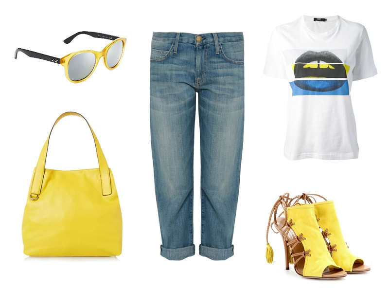 CURRENT/ELLIOTT jeans | RAY BAN sunglasses | MARKUS LUPFER tee | COCCINELLE bag | AQUAZZURA sandals